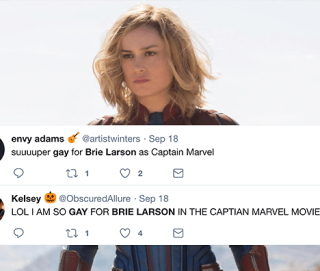 Twitter Is Gaying Out To Brie Larsons Captain Marvel