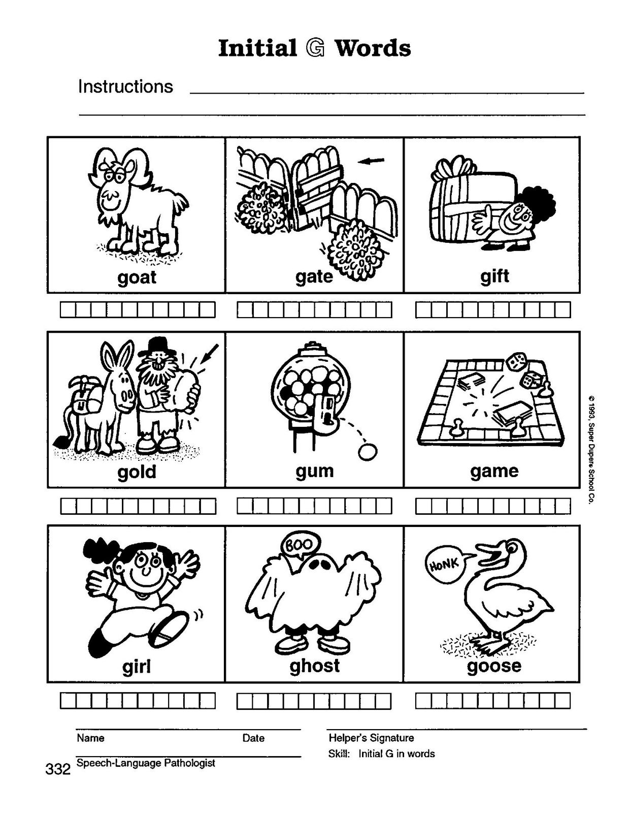 Preschool Speech Home Practice Materials