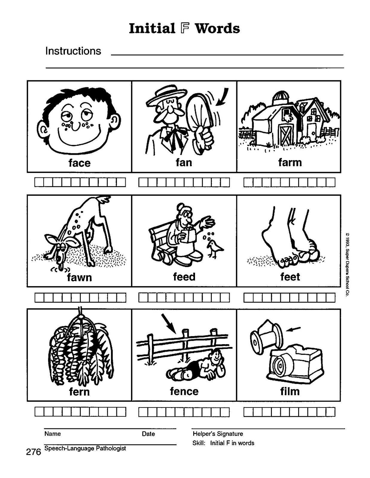 Preschool Speech Home Practice Materials