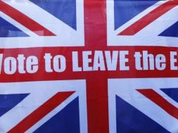 File photo of a Vote Leave supporter holding up a Union flag after Britain voted to leave on the European Union in London