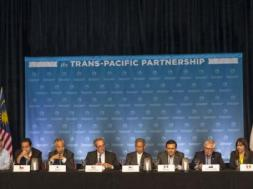 The twelve Trans-Pacific Partnership (TPP) Ministers  hold a press conference to discuss progress in the negotiations in Lahaina, Maui, Hawaii