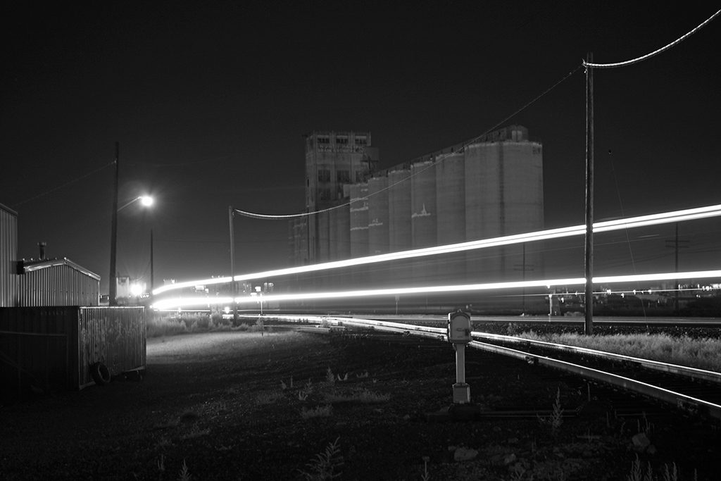long exposure of train at night