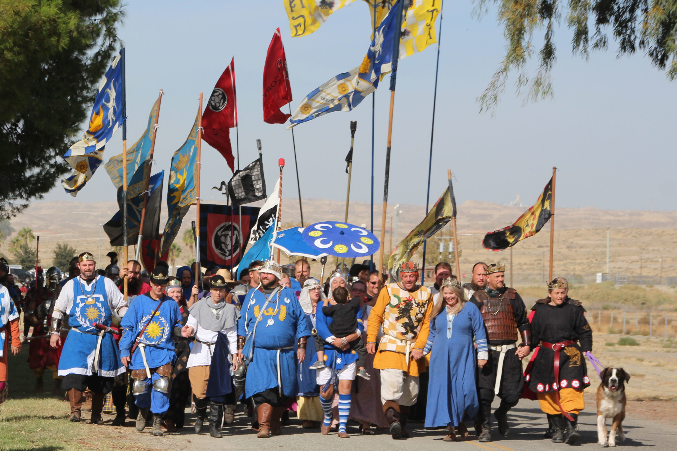Royalty processing onto the battlefield at Great Western War, banners flying behind them as they march