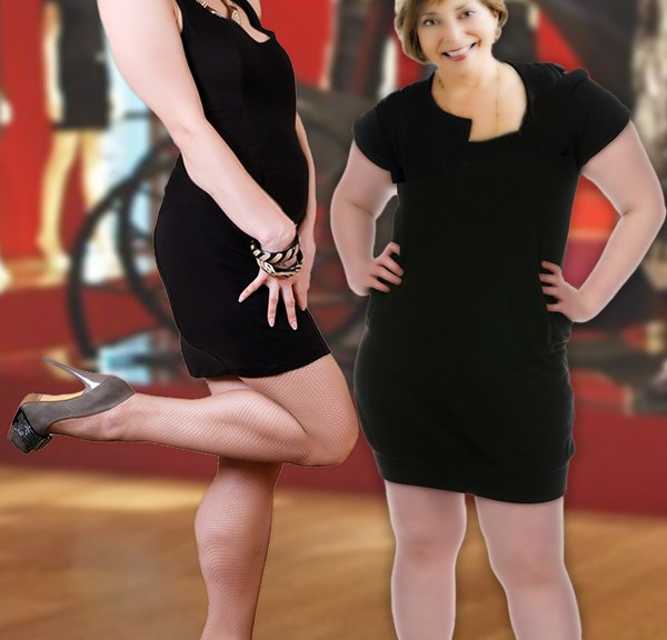 Dear Leader and her son Tik pose in their little black dresses on loan from Maureen Dowd.