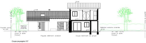 SCAL Architecture Coupe paysagère dossier permis de construire DPE Diagnostic avec AutoCAD Architecture Villeurbanne Lyon Rhône