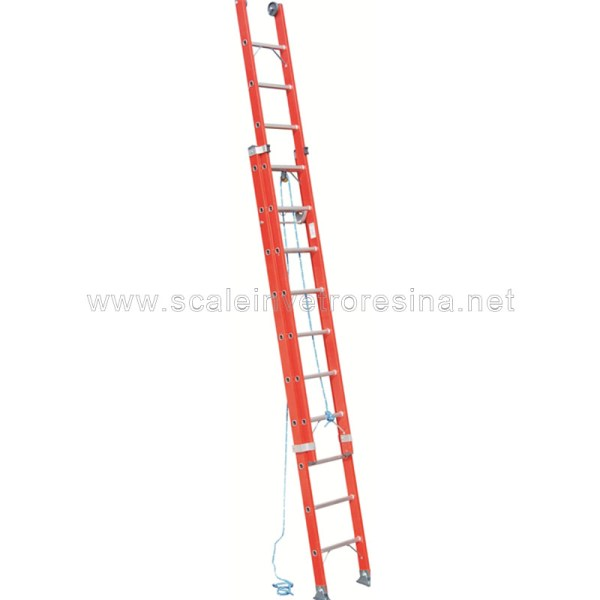 Scala in vetroresina con fune 2 rampe 22 gradini