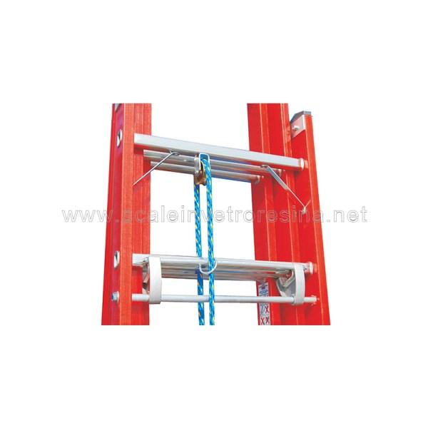 Scala in vetroresina con fune 3 rampe 16 gradini