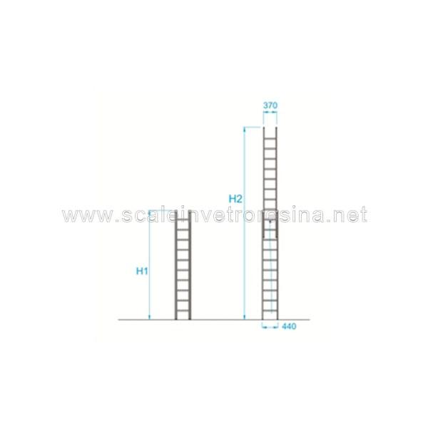 Scale in vetroresina miste con fune 2 rampe 14 gradini