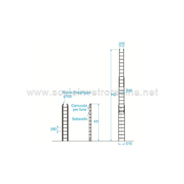 Scale in vetroresina miste con fune 3 rampe 20 gradini