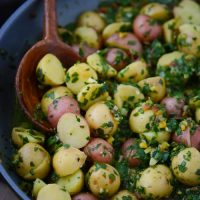 potatoes in garlicky chard broth