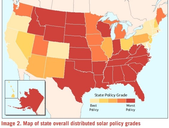 overall state distributed solar policy grades map