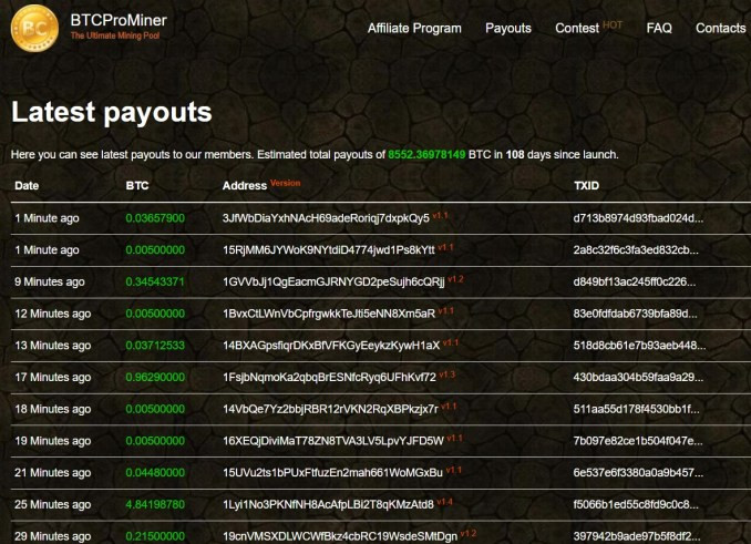Latest payouts to BTCProMiner Members
