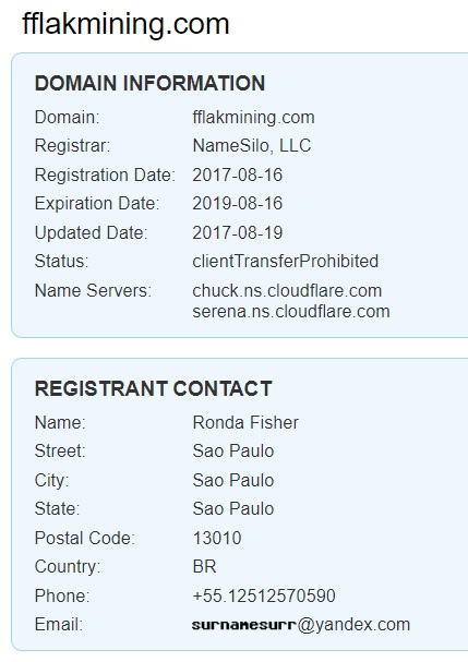 Who is behind fflakmining.com