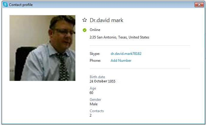 SCAMMERS on SKYPE: dr.david.mark78182 Dr.david mark (Account N1)