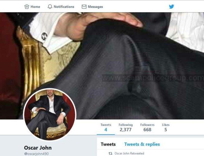Congrats-your-busted 113: Romance Scam/Advance Fee Fraud/Phishing: OSCAR JOHN