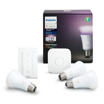 philips hue e27 smart lighting starter kit 3x bulbs bridge dimmer