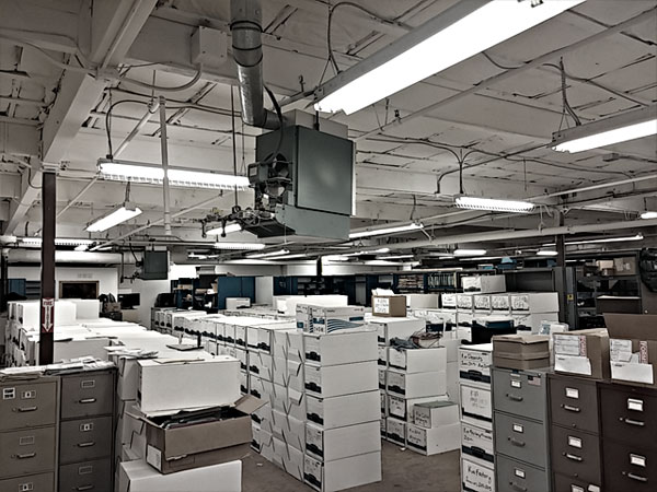 room full of filing cabinets