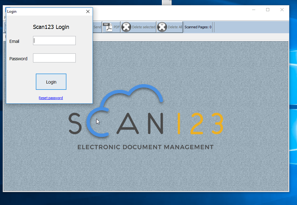 screenshot of scan123 desktop client login screen