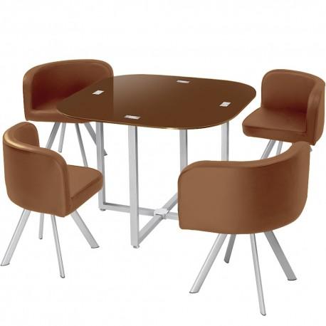 table scandinave et chaises vintage 90 marron