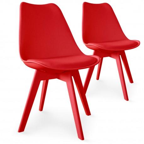 chaises scandinave colors rouge lot de 2