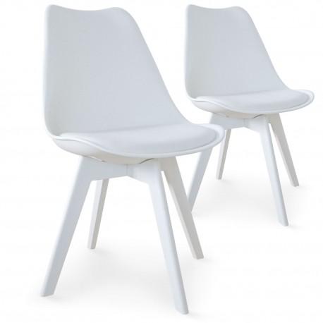 chaises scandinave colors blanc lot de 2