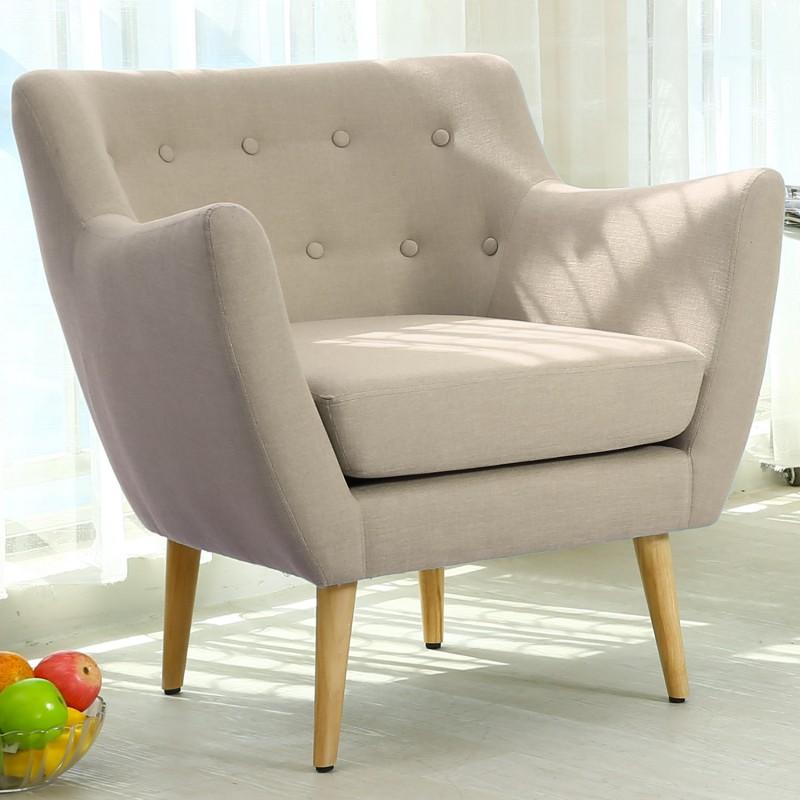 fauteuil scandinave stuart tissu beige