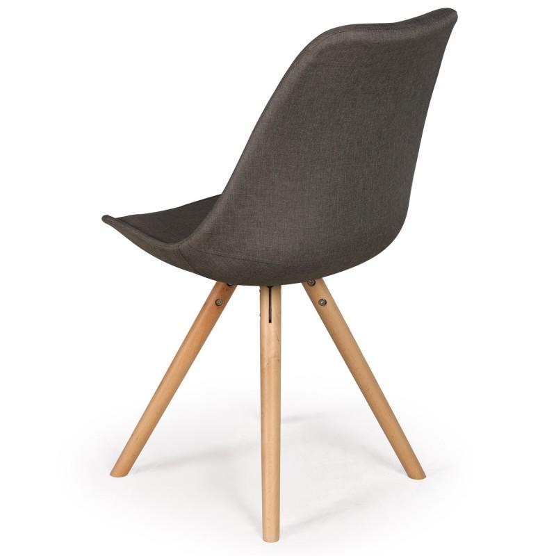 chaises scandinaves ida tissu taupe fonce lot de 4