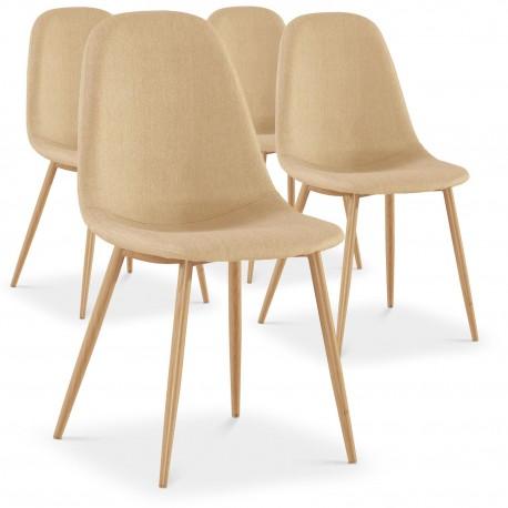 chaises scandinaves karl tissu beige lot de 4