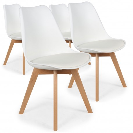 chaises scandinaves ericka blanc lot de 4
