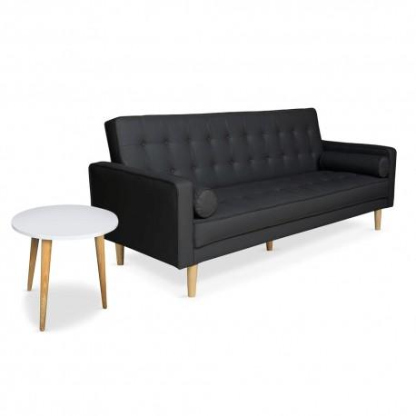 canape convertible scandinave noir table basse scandinave blanc