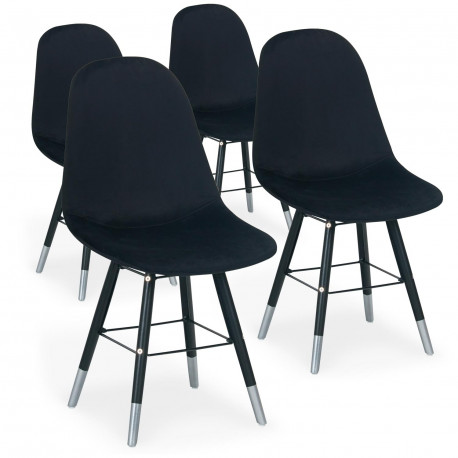 lot de 4 chaises scandinaves velours noir ronn