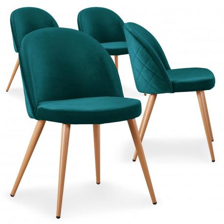 lot de 4 chaises scandinaves marlyn velours vert