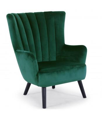 fauteuil scandinave en velours vert moiz