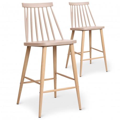 lot de 2 chaises de bar scandinaves beige