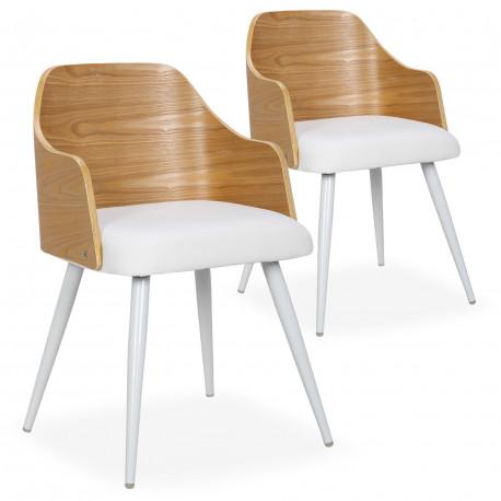 chaises scandinaves salle a manger bois chene et simili blanc lot de 2
