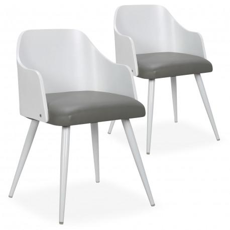 chaises scandinaves salle a manger bois blanc et simili gris lot de 2