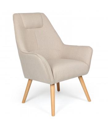 fauteuil scandinave beige dossier haut milk
