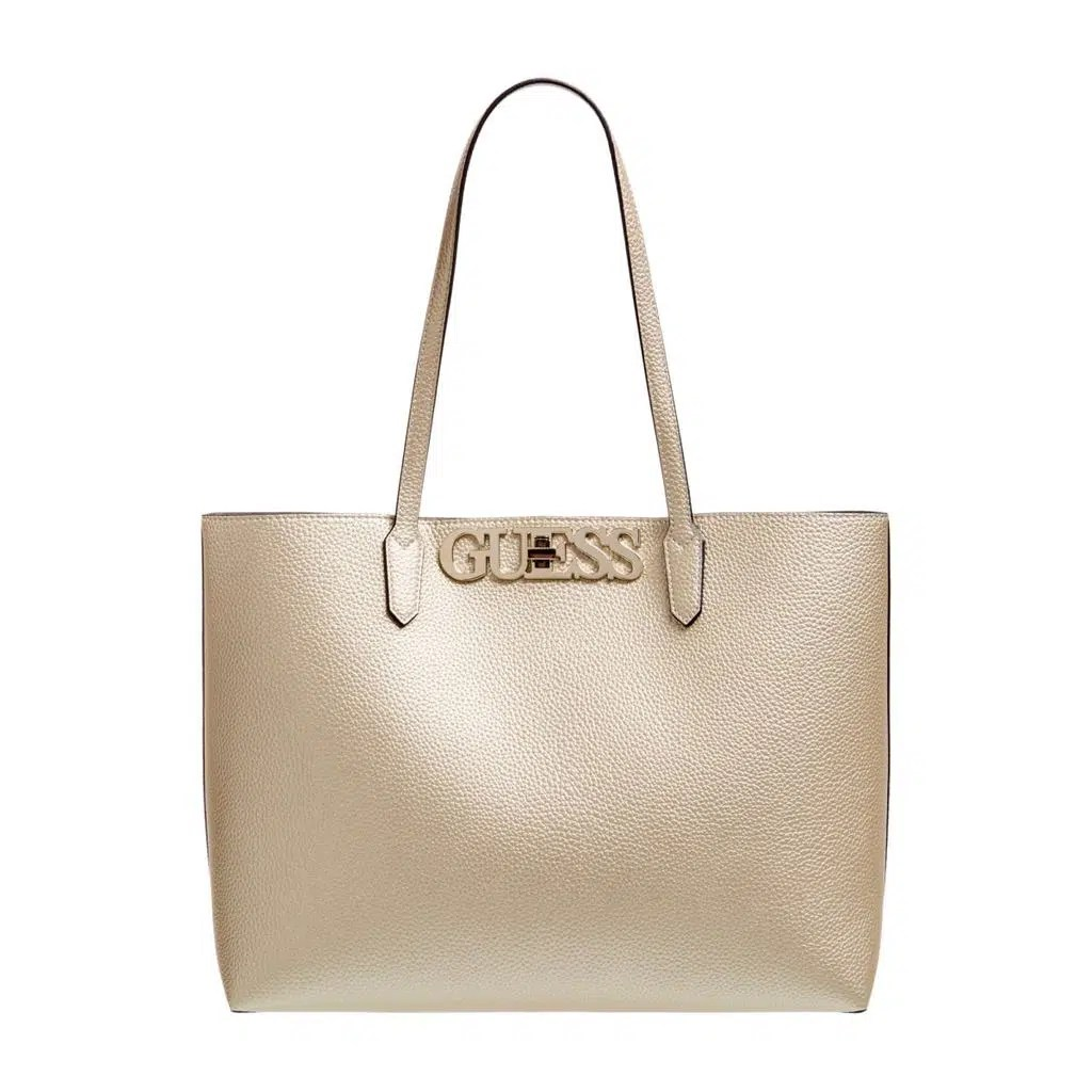 Shop Guess Uptown Chic Barcelona Tote Gold online. Global