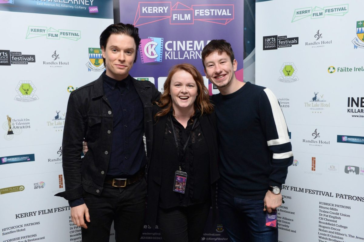 Black 47 actors Freddie Fox and Barry Keoghan with Kerry Film Festival director Maeve McGrath pictured at The Killarney Cinema at the weekend. Photograph by Sally MacMonagle.