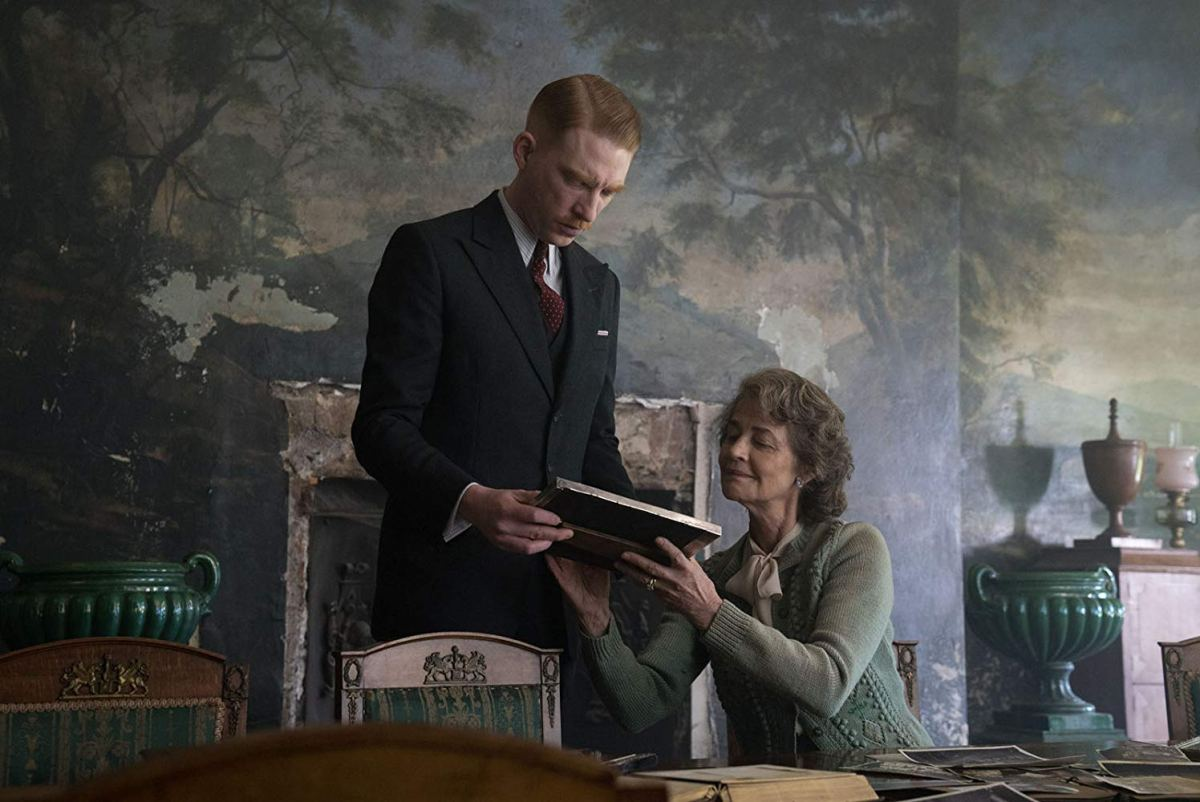 """Domnall Gleeson stars as """"Dr. Faraday"""" with Charlotte Rampling as """"Mrs. Ayres"""" in director Lenny Abrahamson's THE LITTLE STRANGER, a Focus Features release. Credit: Nicola Dove / Focus Features"""