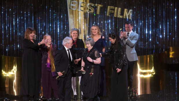 The cast and crew of Maudie with their awards