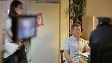 Stefanie Estes Zack Ward and James Cullen Bressack on set of BETHANY