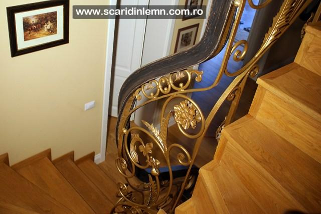 Mana curenta lemn curbat la scara interioara din lemn masiv, balustrada de lemn