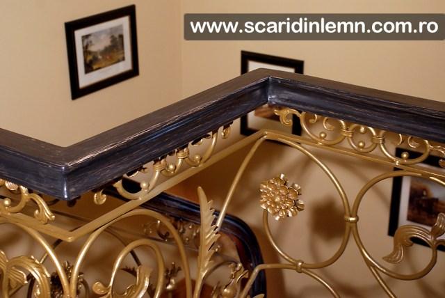 scara interioara de lemn cu mana curenta lemn masiv curbat