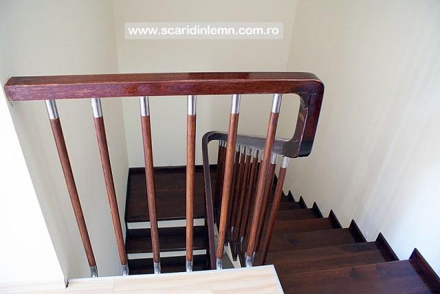scari interioare de lemn balustrii cu terminatii de inox si placare trepte din lemn masiv preturi proiectare