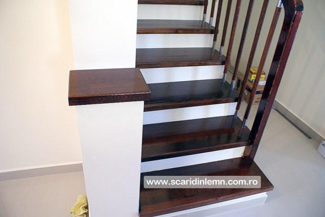 scari de lemn interioare trepte placate din lemn masiv balustrii inox balustrada preturi design