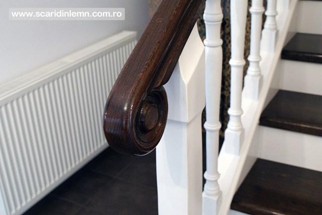 executie scara interioara din lemn masiv vang modular placare trepte de lemn cu mana curenta lemn curbat