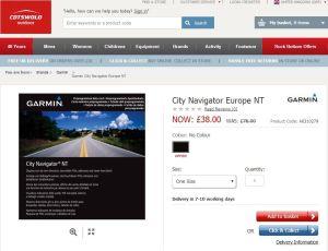 Half price Garmin City Navigator Map (on SD card)