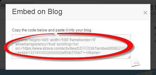 embed strava code to copy/paste