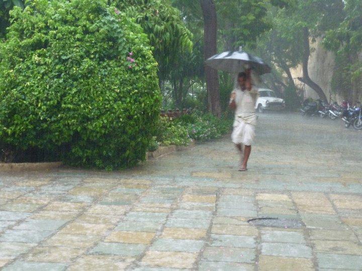 walking in the monsoon rain in India